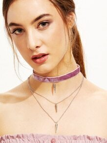Purple Velvet Layered Spike Choker Necklace