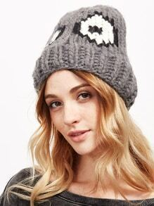 Grey Cute Eye Pattern Beanie Hat