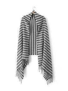 Black And White Houndstooth Fringe Shawl Scarf