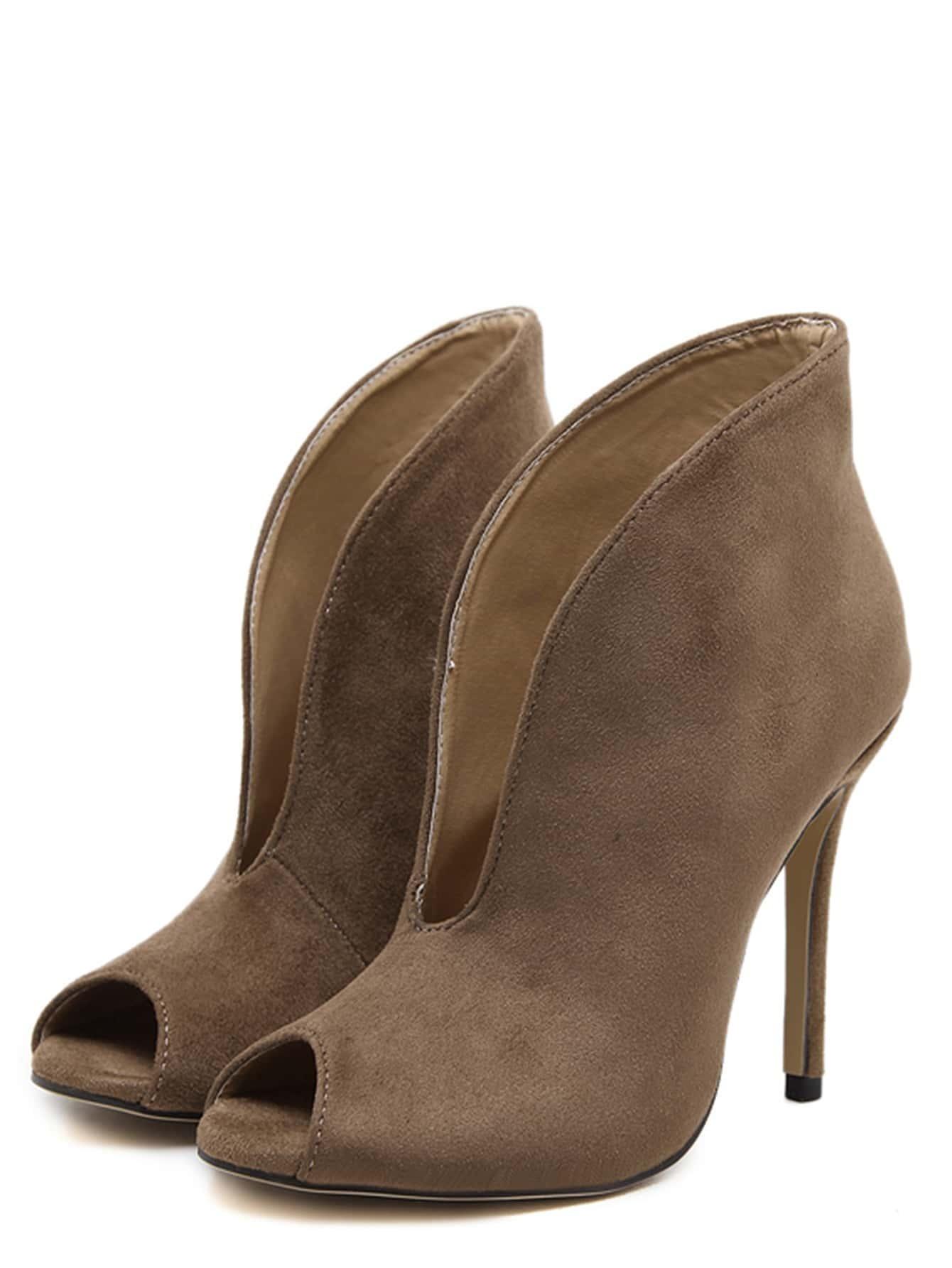 Chaussures talon haut en su d bout ouvert kaki for Acheter maison suede