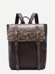 Coffee PU Double Buckled Strap Flap Backpack