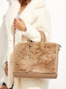 Khaki Faux Fur Trim Elegant Handbag With Strap