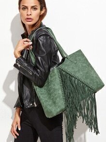 Green Faux Leather Fringe Tassel Shoulder Bag Set