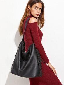 Black PU Fringe Tassel Shoulder Bag