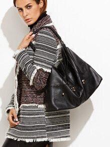 Black PU Tassel Trim Hobo Bag