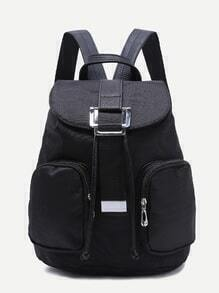 Black Buckled Strap Double Pocket Nylon Backpack