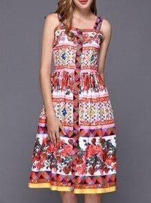 Multicolor Strap Vintage Print A-Line Dress