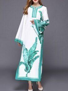 White Leaves Print Split Maxi Dress