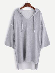 Grey Drop Shoulder High Low Drawstring Hooded Sweatshirt Dress