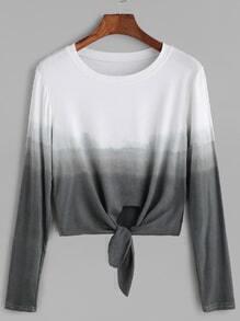 Ombre Tie Front Crop T-shirt