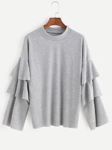 Light Grey Drop Shoulder Ruffle Sleeve T-shirt