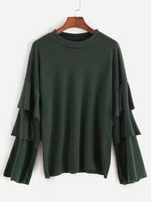 Dark Green Drop Shoulder Ruffle Sleeve T-shirt