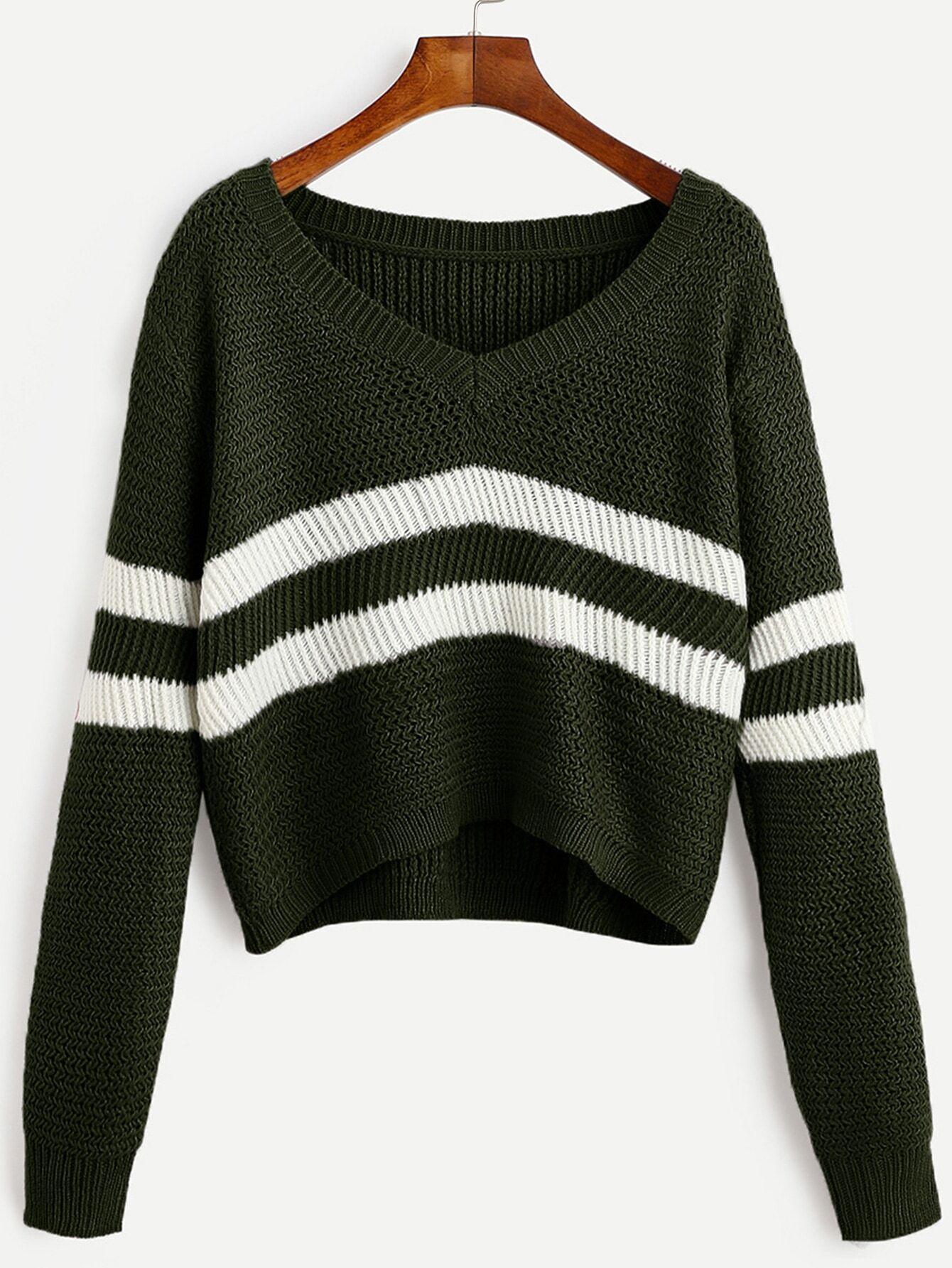 Dark Green Striped V Neck Crop SweaterFor Women-romwe