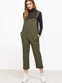 Army Green Spaghetti Strap Pockets Overall Pants
