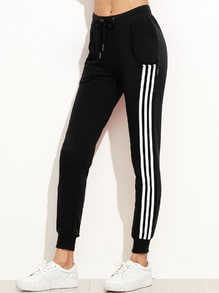 Black Side Stripe Drawstring Tapered Leg Pants