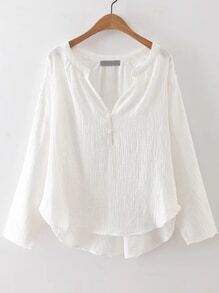 White V Neck Button Up High Low Blouse