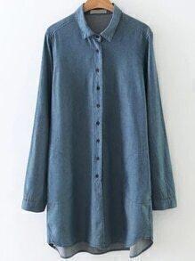 Blue Button Up Dip Hem Denim Blouse