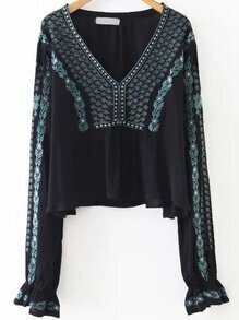 Black Tribal Embroidery V Neck Blouse