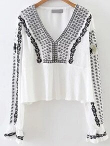 White Tribal Embroidery V Neck Blouse