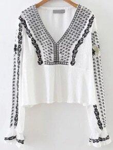 White Tribal Embroidery V Neck Blouse