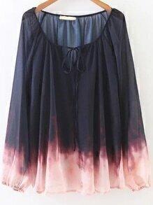 Navy Tie-dye V Neck Chiffon Blouse