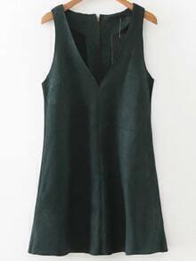 Dark Green V Neck Sleeveless Zipper Back Dress