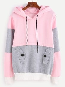Color Block Drawstring Hooded Sweatshirt With Pocket
