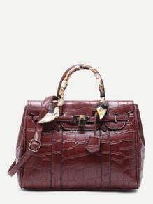 Burgundy Croc Embossed PU Handbag With Strap