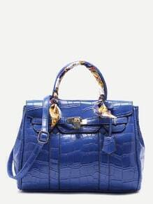 Blue Croc Embossed PU Handbag With Strap