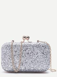 Silver Glitter Evening Bag With Chain