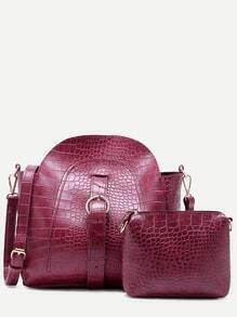 Maroon Croc Embossed PU Buckle Strap Shoulder Bag Set
