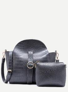 Grey Croc Embossed PU Buckle Strap Shoulder Bag Set