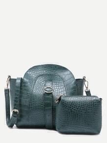 Green Croc Embossed PU Buckle Strap Shoulder Bag Set