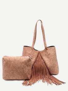 Khaki Faux Leather Fringe Tassel Shoulder Bag Set