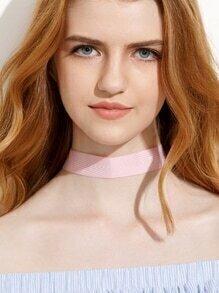 Pink Ribbon Stripe Choker Necklace
