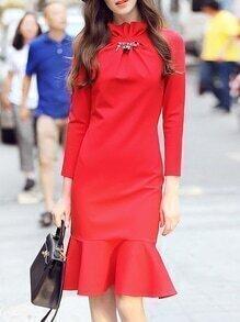 Red Collar Long Sleeve Frill Dress