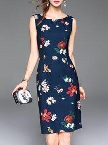 Navy Backless Floral Sheath Dress
