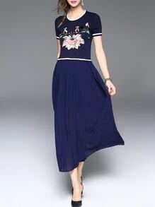 Navy Flowers Embroidered Pleated A-Line Dress