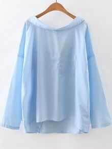 Blue Boat Neck Pocket High Low Blouse