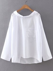 White Boat Neck Pocket High Low Blouse