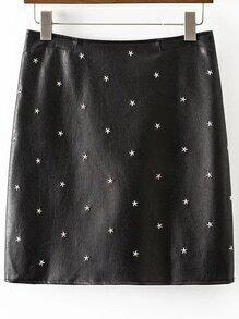 Black Star Studded Back Zipper PU Skirt