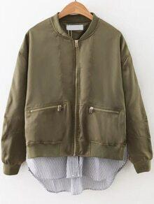 Army Green Striped 2 In 1 Zipper Jacket