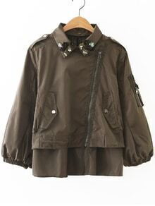 Army Green Flower Detail Oblique Zipper Coat