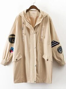 Khaki Embroidery Ribbed Cuff Hooded Long Coat