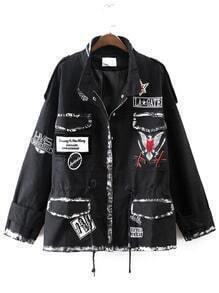 Black Embroidery Detail Drawstring Coat