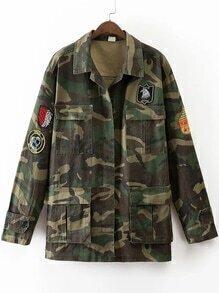 Camouflage Mantel mit Taschen Stickereien-armee grün