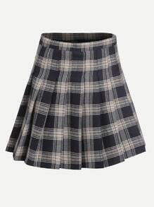 Navy Plaid Zipper Pleated Skirt
