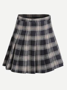Falda plisada de cuadros con cremallera - marino