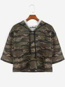 Camo Print Half Sleeve Drawstring Hooded Crop T-shirt