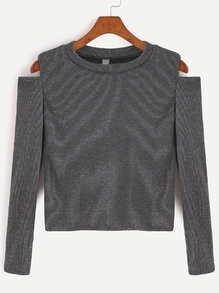 Dark Grey Open Shoulder Crop T-shirt